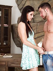 Skinny mom India Summer gives younger man a blowjob and takes cum on face