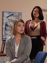 Office lesbian sex with old and young chicks Eva Angelina and Jenna Ashley