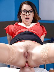 Glasses clad doctor Juelz Ventura sucking off patients long cock