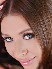 Gorgeous blue eyed teen Ally showing off her amazing curves in bed