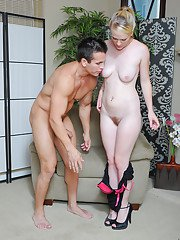 Pale blonde amateur Hydii May getting her cunt destroyed in heels