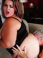 BBW brunette MILF Erin getting her fat ass fucked and face jizzed on