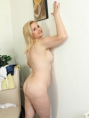 Mature blonde dame Kim Brosley showing off aged tots for close ups