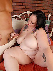 BBW Glory-Foxxx takes a cock between her huge fat woman tits