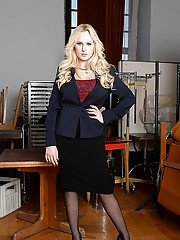 Curvy Euro teacher Angel Wicky posing in black pantyhose and skirt