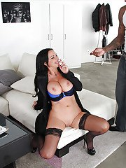 Buxom first timer Nikki Benz flashing shaved MILF pussy while smoking