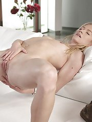 Beautiful young blonde Bella Bends fingering asshole whole masturbating
