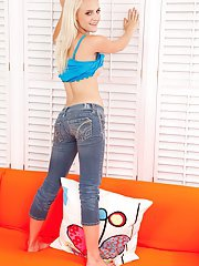 Barely legal blond Stacey Kiss flashing young girl panties on casting couch