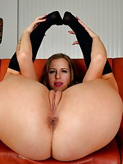 Blond MILF Miss Melrose showing off hard nipples for close ups