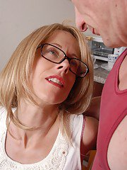 Older blonde lady Charlotte takes cumshot in mouth and eats jizz