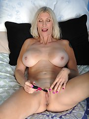 Buxom blonde lady Cameo flaunting her big natural over 40 MILF tits