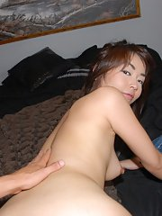 Petite Asian amateur Marica taking doggystyle dick in bald cunt