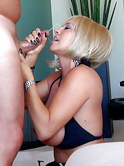 Short haired blonde wife Sandra Otterson taking POV cumshot on face