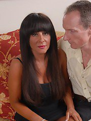 Busty mature brunette Cassidy having her shaved pussy fingered and licked