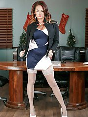 MILF secretary Tory Layne posing for tease pics in stocking and garters