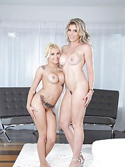 Young blonde Marsha May is seduced into lesbian sex by kinky MILF Tory Lane