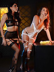 Glamour lesbians Allie Haze and Romi Rain share a double dildo
