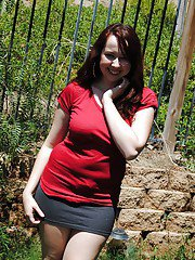Chubby first timer Alisyn flashing her all natural rack outdoors