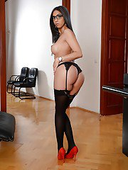 Office secretary Julia De Lucia flashing tits in nylons and high heels
