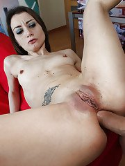 Italian MILF Valentina Bianco giving huge cock a blowjob before anal sex
