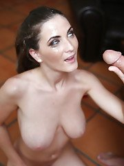 Young slut Molly Jane gives a huge cock a POV blowjob and tit fuck