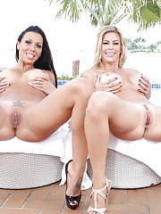 Hot wives Alexis Fawx and Rachel Starr experiment with lesbian sex outdoors