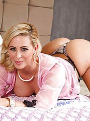 Blonde wife Cherie DeVille looking divine in sexy lingerie on bed