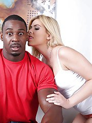 Blond Latina wife Rikki Rumor gives her black hubby a blowjob for breakfast
