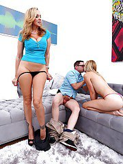 Blonde babe Julia Ann rides fat cock and swallows cum with Alexa Grace