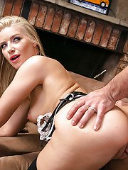 Naughty blonde maid Anikka Albrite parking perfect pussy on mans tongue