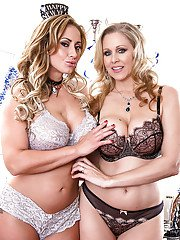 Mature lesbian moms Eva Notty and Julia Ann go tit to tit after undressing