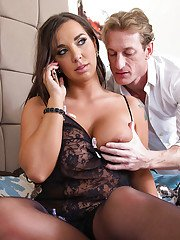 Chesty brunette wife Sydney Leathers taking cumshot on large natural boobs