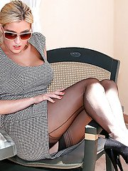 Clothed blonde babe in sunglasses and nylons undresses for masturbation