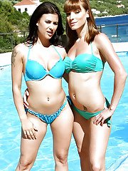 Top rated Euro bikini models Victoria Daniels and Billie Star pose by pool