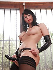 Busty brunette nylon model Desyra Noir showing off strapon cock