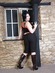 Thick brunette first timer in boots exposing big butt and boobs