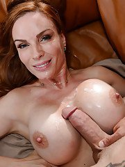 Busty cougar Diamond Foxxx takes cumshot on big knockers from younger stud