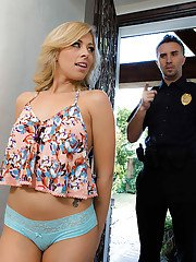 Cute blonde teenager Zoey Monroe giving police officer a blowjob