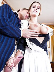 Chesty blonde maid Erica Fontes sucking and jerking long cock
