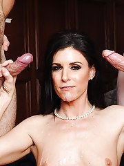 MILF India Summer sucks one fat cock while riding another big dick