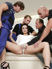 Brunette slut Nikki Sweet gets filled wit jizz in hardcore gangbang scene