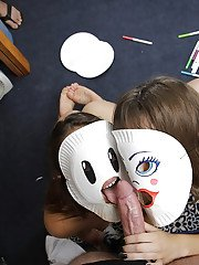 Kinky chick Kimmy Granger and girlfriend don masks before sucking cock