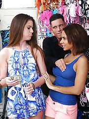 Busty chicks Dylan Daniels and Stacey Levine suck cock in public for money