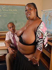 SSBBBW Subrina whipping out massive tits in classroom before giving head