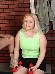 Aged blonde woman Samantha having her chubby boobs exposed by man