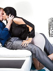 Buxom brunette wife Romi Rain giving fully clothed bj on knees