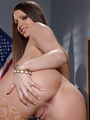 Curvy schoolgirl Brooklyn Chase removing leather skirt while stripping