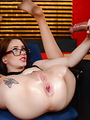 Teen secretary Anna De Ville seduces older man in short skirt and glasses