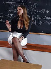 Chesty teacher Brooklyn Chase getting face fucked by huge cock in class
