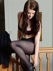 Cute schoolgirl Jessica-Ann Fegan modeling non nude in nylons and skirt